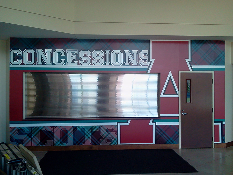 Closeup of Scots Concession Stand With Custom Designed Graphics