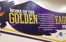 Closeup of Golden Eagles Custom Graphic in Sports Facility