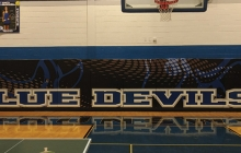 Gym Wall With Blue Devils Custom Graphic