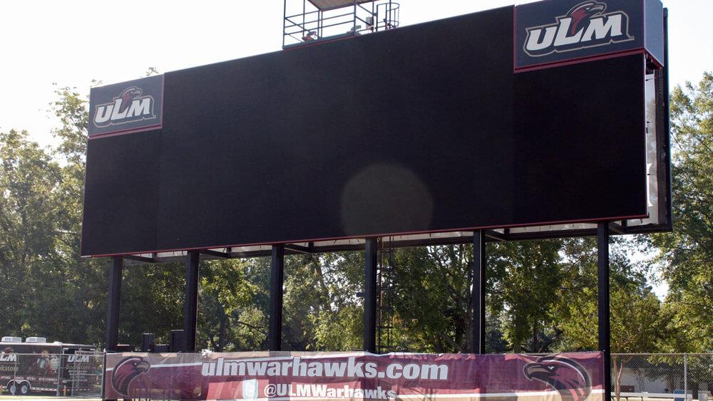 Scoreboard With Custom Graphics for ULM Warhawks