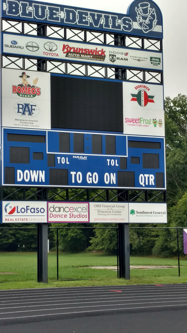 Scoreboard With Custom Graphics for Blue Devils