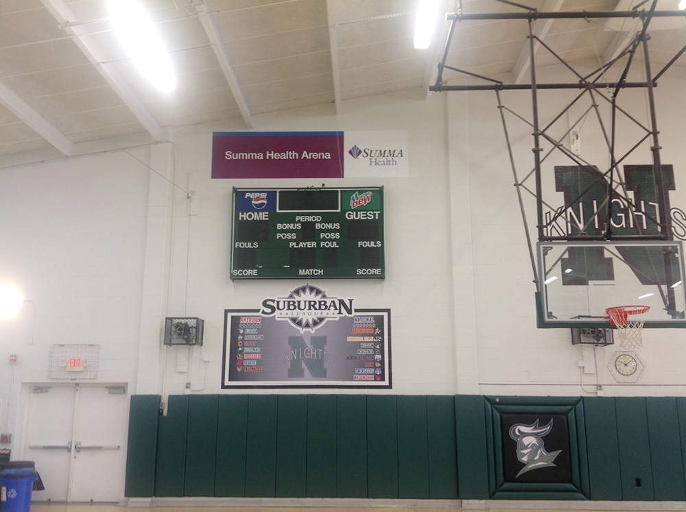 Custom Scoreboard in Gymnasium for Nordonia Knights